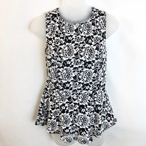 Cato Black/White Lace & Floral Peplum Top Size S